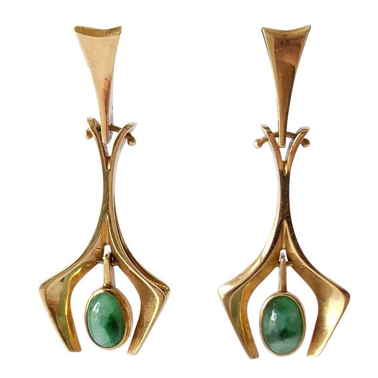 Stanley Lecthzin Gold Jade American Modernist Earrings For Sale