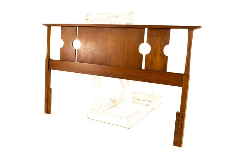 Stanley Mid Century queen walnut headboard Headboard measures: 60 wide x 2.5 deep x 36.5 high  All pieces of furniture can be had in what we call restored vintage condition. That means the piece is restored upon purchase so it's free of watermarks,
