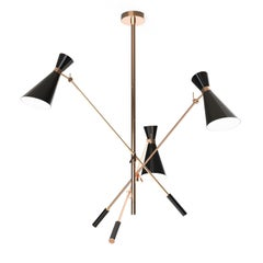 Stanley Pendant Light in Brass and Black Detail
