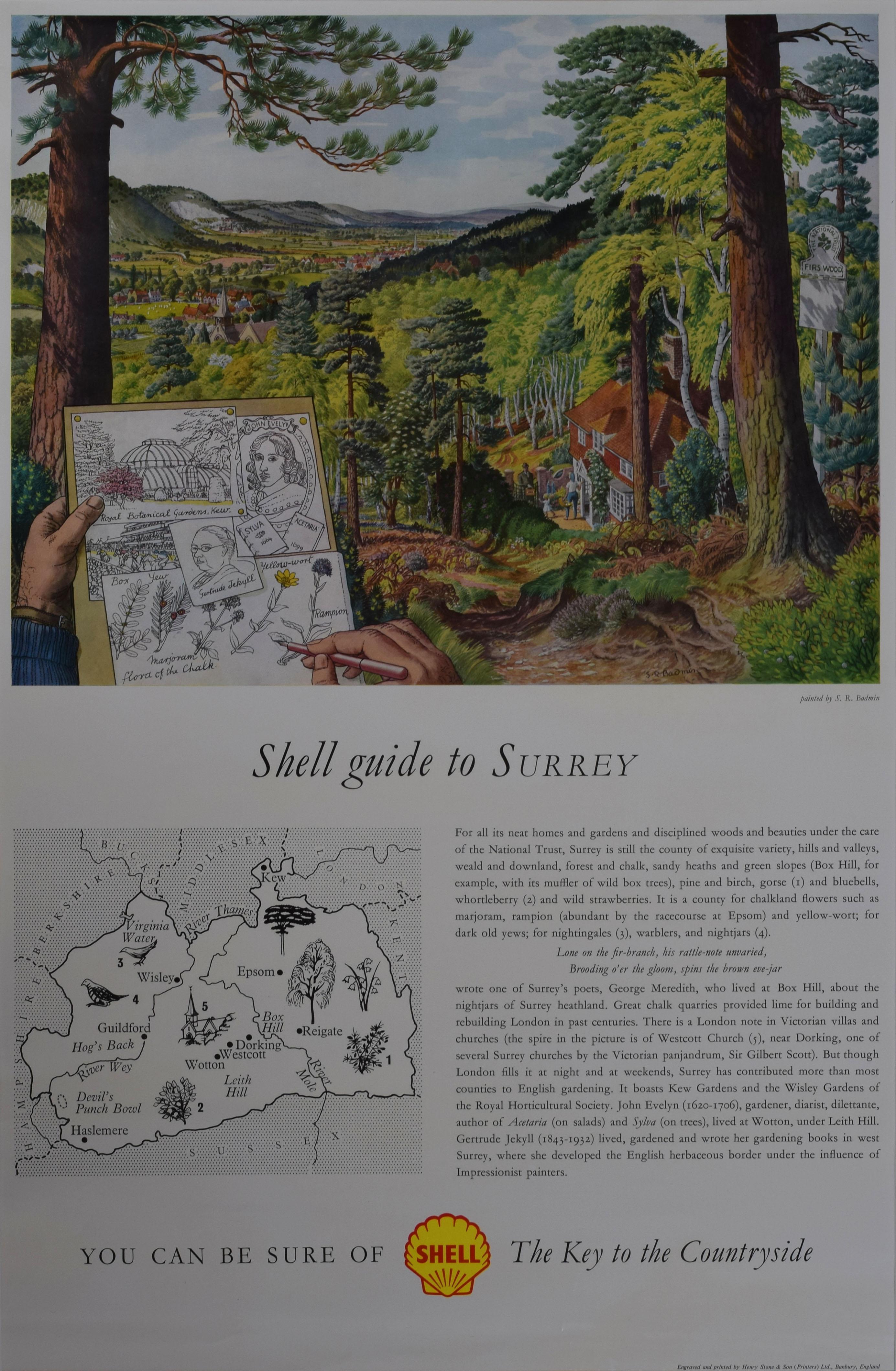 Stanley Roy Badmin Shell Guide to Surrey advertising poster Modern British Art
