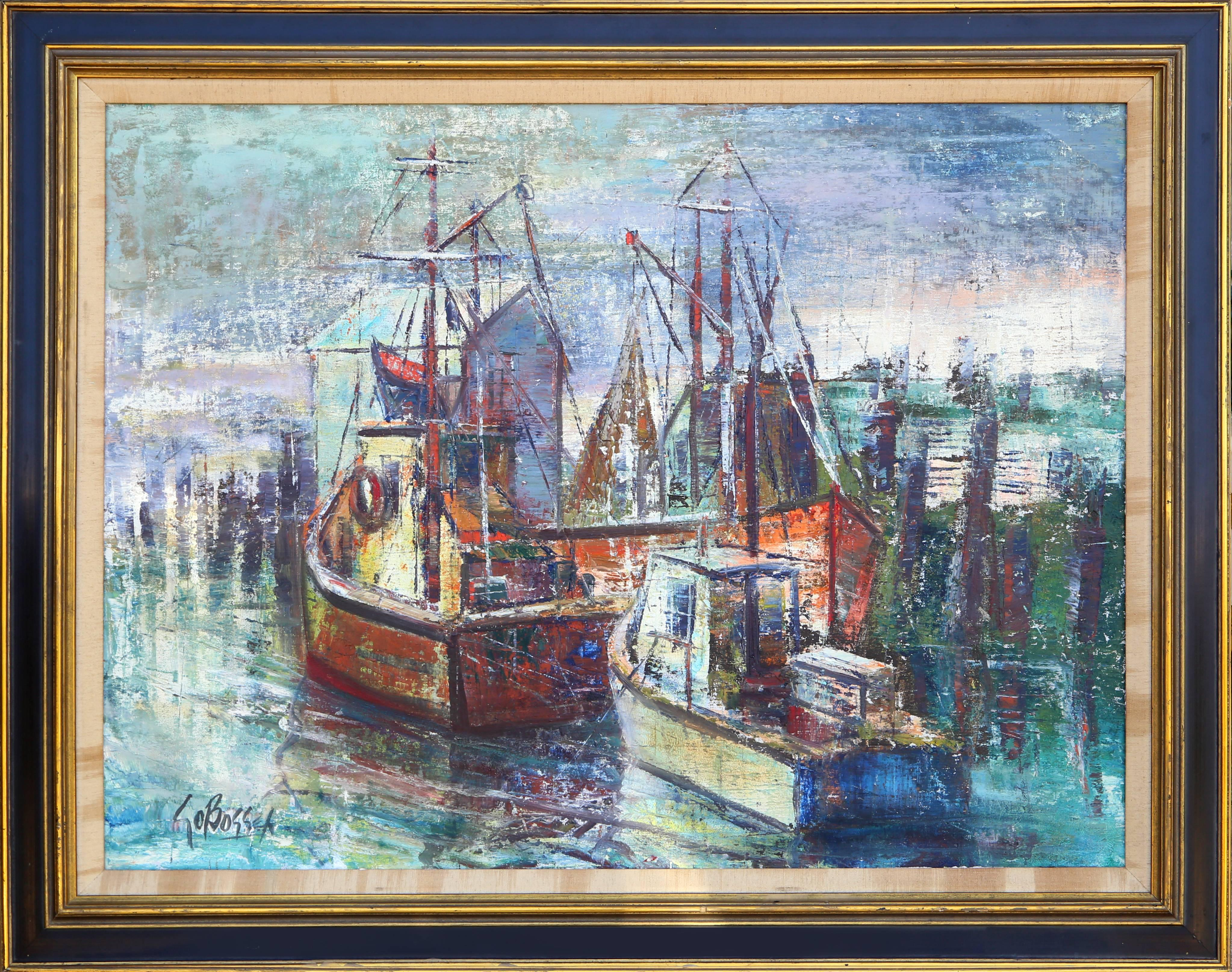"""""""Boats"""", Impressionist Oil Painting by Stanley Sobossek"""