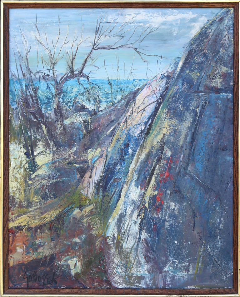 Artist: Stanley Sobossek, American (1918 - 1996) Title: Rockport, Mass. Year: circa 1960 Medium: Oil on Canvas, signed l.r., signed and titled verso Size: 30 x 24 in. (76.2 x 60.96 cm) Frame Size: 32.5 x 25.5 inches