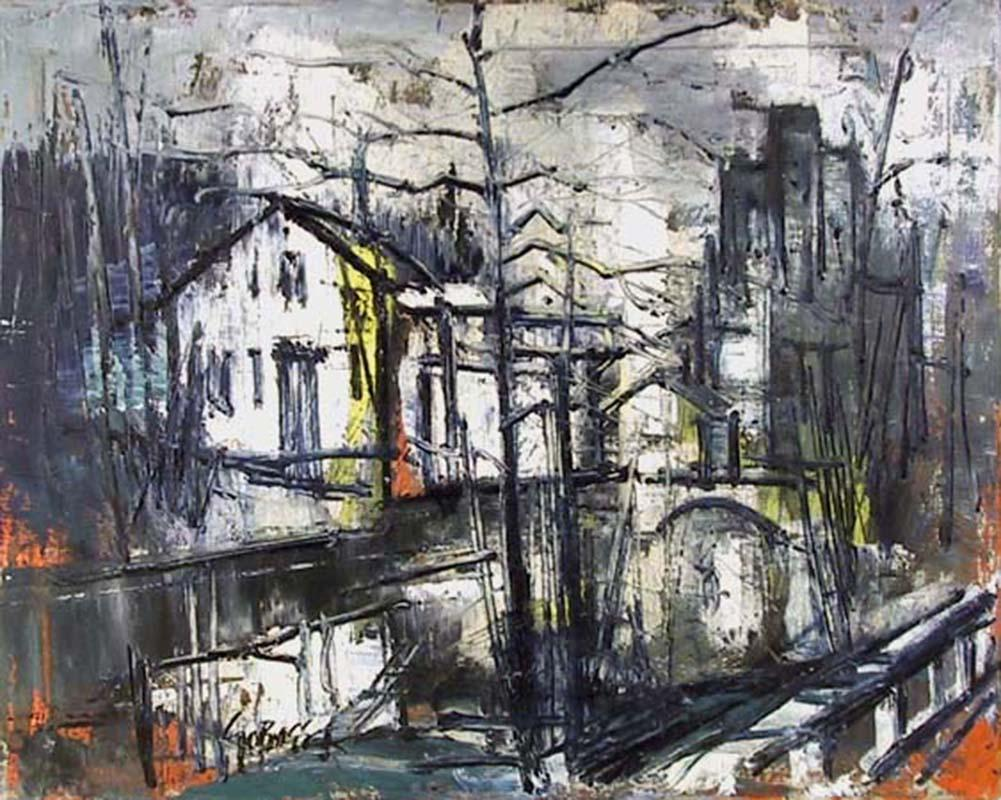 Village Canal, Oil Painting by Stanley Sobossek