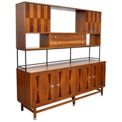 Stanley Walnut, Rosewood and Iron Credenza and Hutch