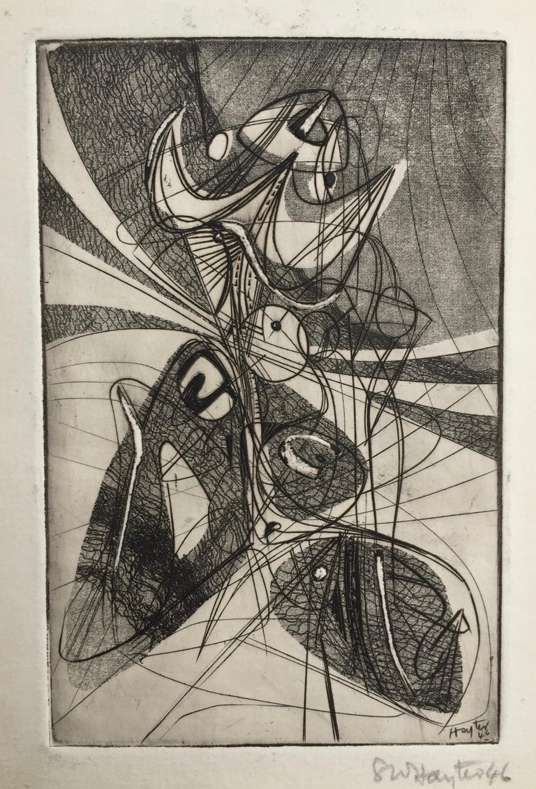 Greeting Card for 1946-7 - Abstract Expressionist Print by Stanley William Hayter