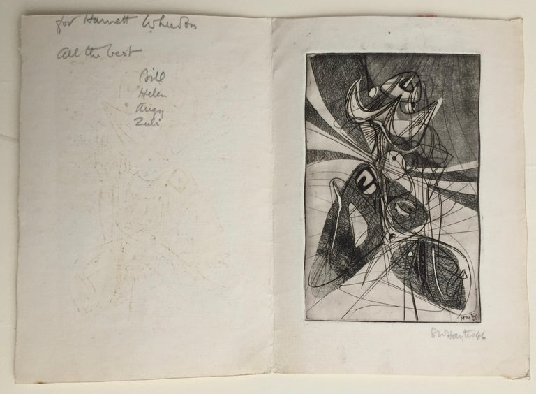 Greeting Card for 1946-7 - Brown Abstract Print by Stanley William Hayter