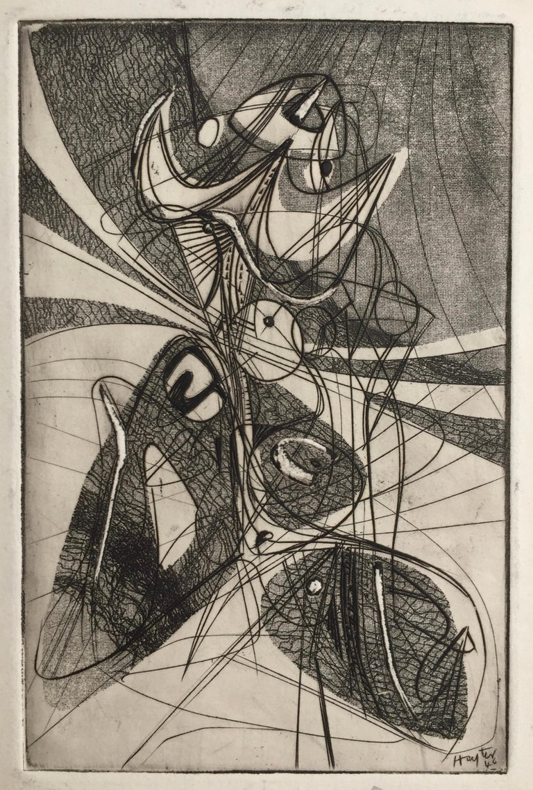 Stanley William Hayter Abstract Print - Greeting Card for 1946-7
