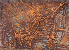 """Stanley Hayter """"Goldfish"""" Signed Limited Edition Abstract Etching Print"""