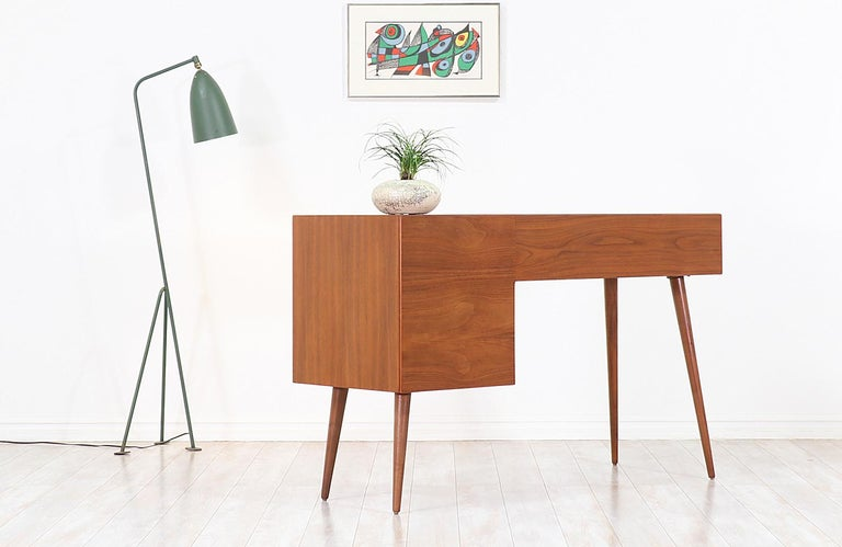 Mid-20th Century Stanley Young Lacquered and Walnut Writing Desk for Glenn of California For Sale