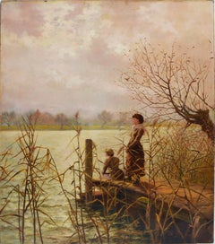 """Impressionist Fall Landscape, :Waiting at the Dock"""" by Stannard Hodgson"""