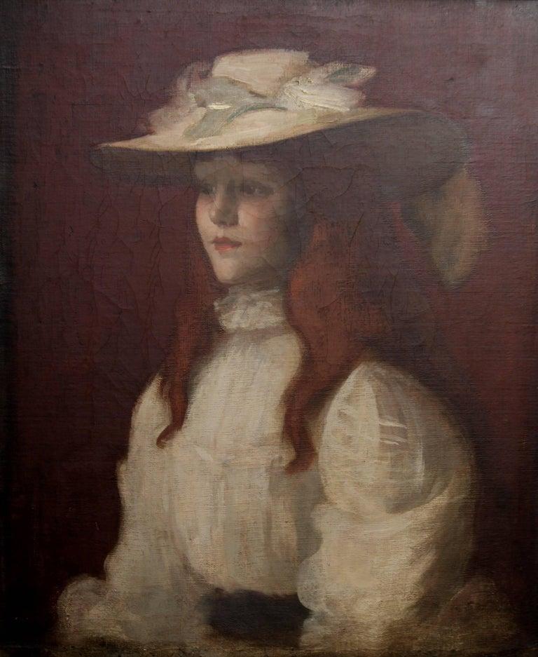 Girl in Straw Hat - Scottish Edwardian Glasgow Girl artist portrait oil painting For Sale 1