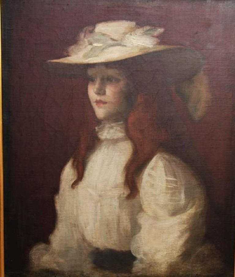 Girl in Straw Hat - Scottish Edwardian Glasgow Girl artist portrait oil painting - Impressionist Painting by Stansmore Richmond Leslie Deans