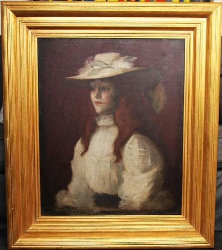 Girl in Straw Hat - Scottish Edwardian Glasgow Girl artist portrait oil painting For Sale 3