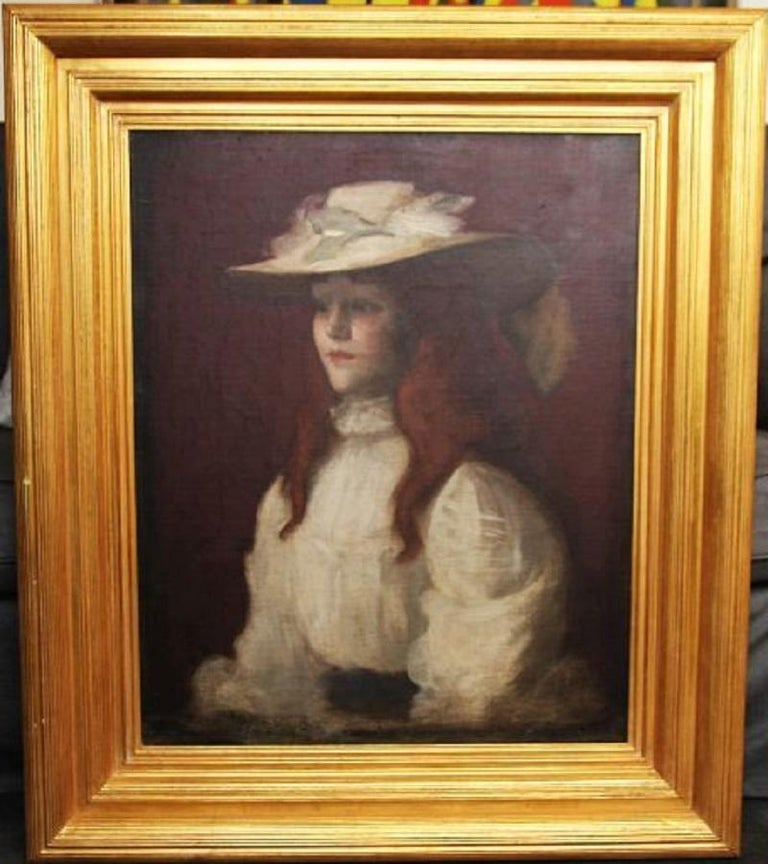 Girl in Straw Hat - Scottish Edwardian Glasgow Girl artist portrait oil painting - Brown Portrait Painting by Stansmore Richmond Leslie Deans