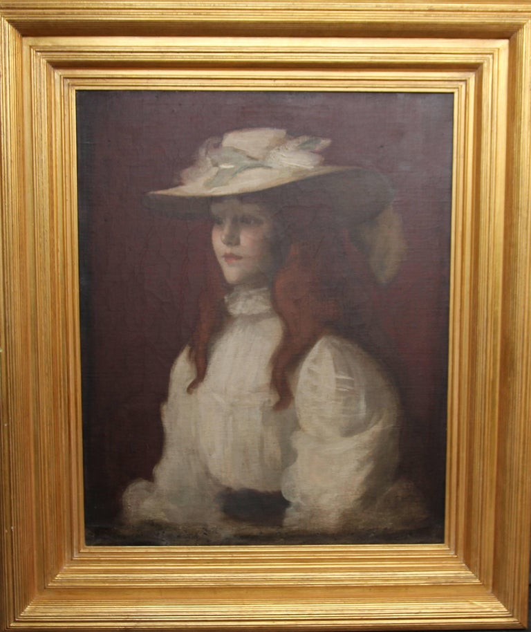 Stansmore Richmond Leslie Deans Portrait Painting - Girl in Straw Hat - Scottish Edwardian Glasgow Girl artist portrait oil painting