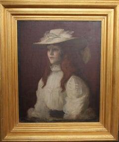 Girl in Straw Hat - Scottish Edwardian Glasgow Girl artist portrait oil painting
