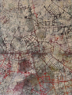 City of Dreams - British Abstract art oil painting cityscape mapping red black