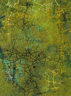 City of Hope - British Abstract oil painting cityscape mapping green