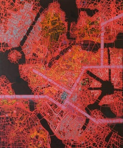 Just Keep Going Until You Find me - British Abstract oil painting city map red