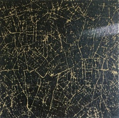 Mapping Great Expectations - British Abstract art oil painting cityscape black