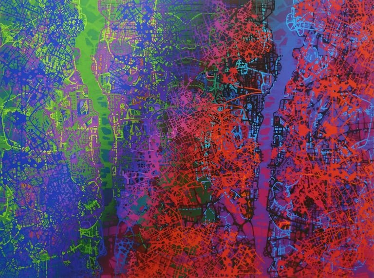 Waves of Joy - British Abstract painting cityscape mapping blue green pink red