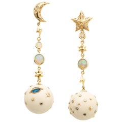 Star and Moon Mammoth Galaxy Earrings with Opal Diamond and Sapphire