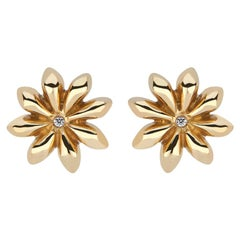 Star Anise Earrings with Diamond Centers in 22 Karat Gold