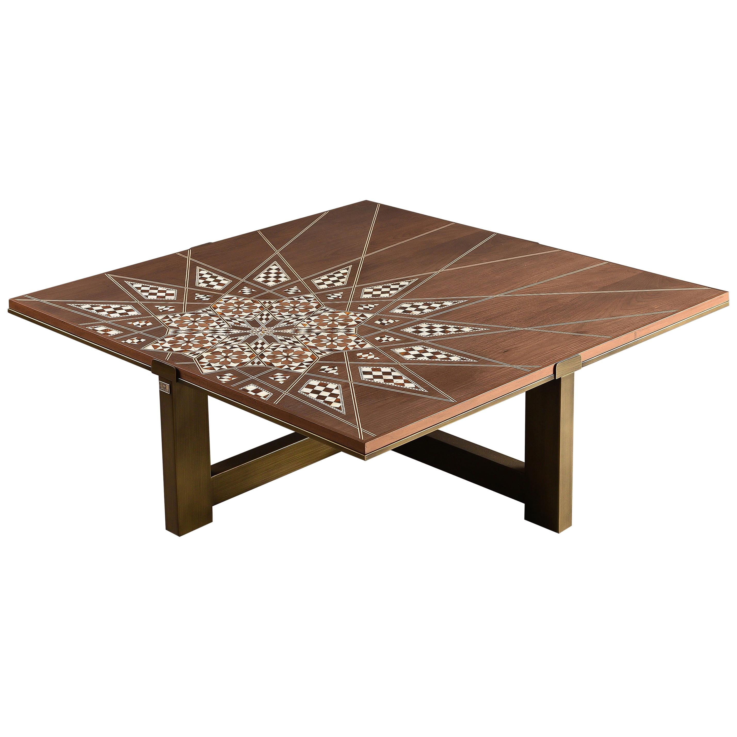 Patchwork Center Table Modern Oriental Coffee With Mother Of Pearl Inlay For At 1stdibs