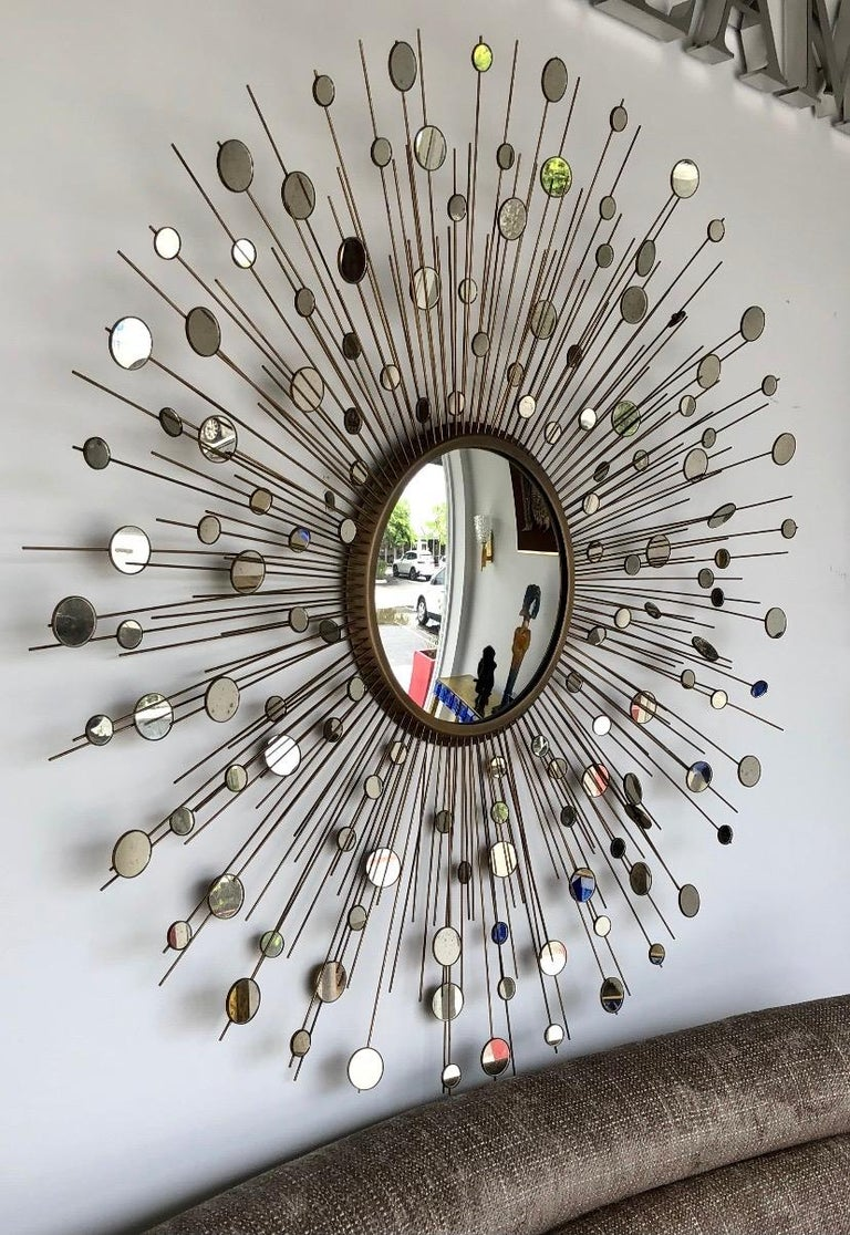 Mid-Century Modern Star Burst Constellation Mirror by Thomas Pheasant for Baker Furniture Co. For Sale