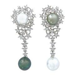 Star Cluster Diamond Long White South Sea Tahitian Pearls Gold Omega Earrings
