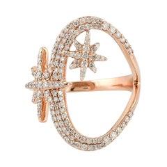 Star Diamond 14 Karat Rose Gold Ring