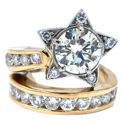 Star, Diamond Platinum Gold 1.60 Carat 18 Karat Ring