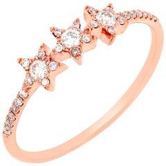 18 Karat Rose Gold Round Diamond Star Ring