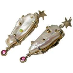 Sanct Desiderata Star Dust Earrings with Diamond, Opal, Biwa Pearls, Tourmaline