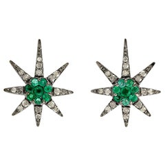 Star Emerald Diamond Stud Earrings
