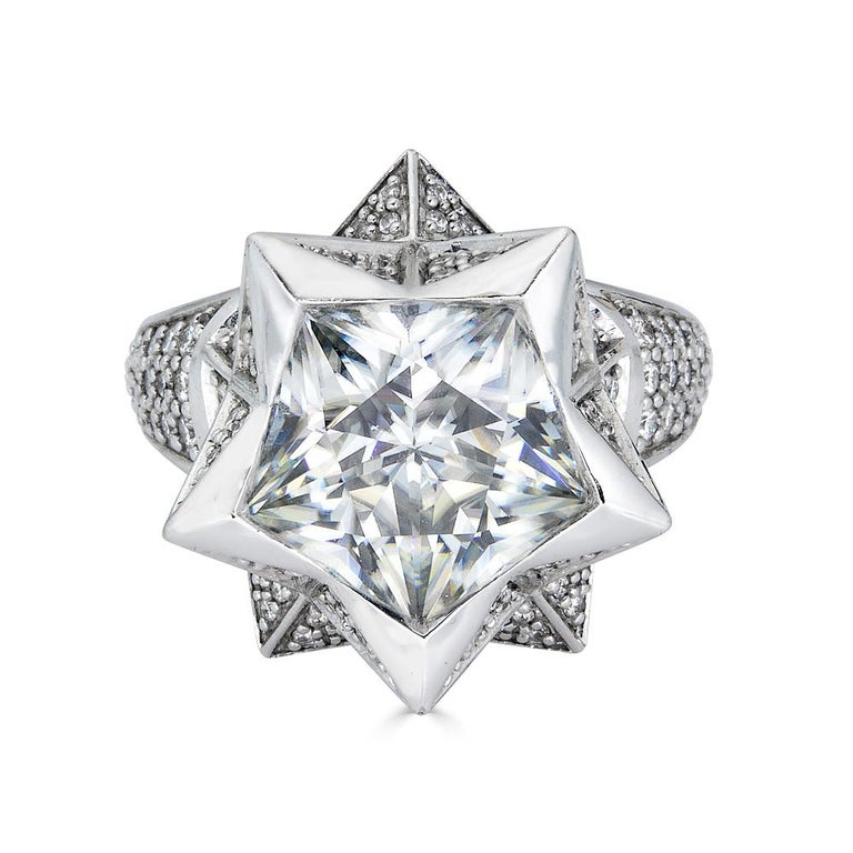 Modern Star Engagement Ring For Sale