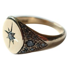 Star Engraved Diamond Compass Signet Ring in 14 Karat Gold