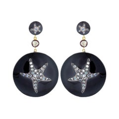 Star Fish Black Enamel Earring with Diamonds and Moonstone in Gold and Silver