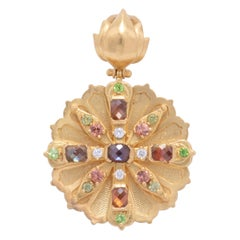 Star Lotus Andradite Garnet Pendant in 22 Karat Gold with Diamonds and Sapphires