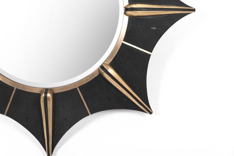 Art Deco Star Mirror in Black Shagreen and Bronze-Patina Brass by R & Y Augousti For Sale
