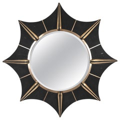 Star Mirror in Black Shagreen and Bronze-Patina Brass by R & Y Augousti