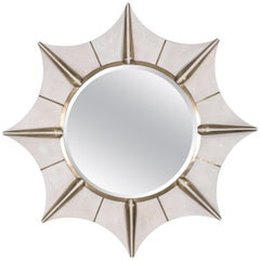 Star Mirror in Cream Shagreen and Bronze-Patina Brass by R & Y Augousti