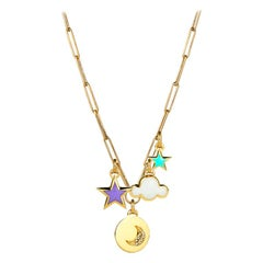 Star, Moon & Cloud Pendant Necklace, 14K Yellow Gold with Diamonds and Enamel
