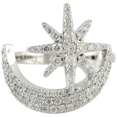 Star Moon Diamond 14 Karat Gold Ring