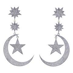 Star Moon Diamond Drop Earrings