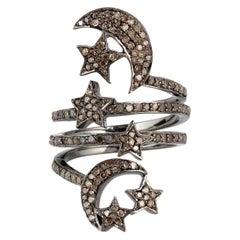Star Moon Diamond Ring