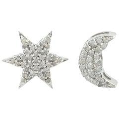 Star Moon Diamond Stud Earrings