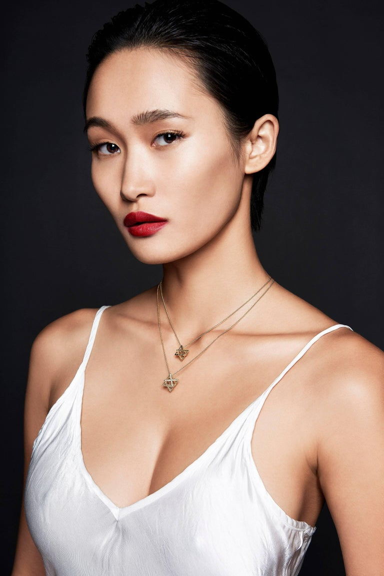 Women's Star of David Merkaba Diamond Gold Geometric Pendant Necklace For Sale
