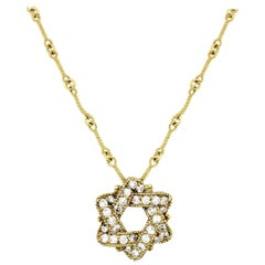 Star of David Pendant Chain Necklace Yellow Gold and Diamonds Stambolian