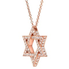 Star of David Rose Gold Diamond Pendant Necklace Unisex